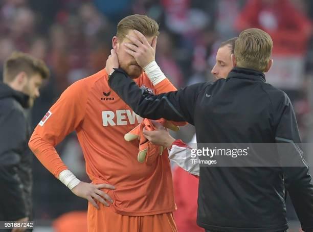 Goalkeeper Timo Horn of Koeln looks dejected after the Bundesliga match between 1 FC Koeln and VfB Stuttgart at RheinEnergieStadion on March 4 2018...