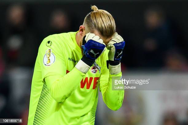 Goalkeeper Timo Horn of Koeln looks dejected during the DFB Cup match between 1. FC Koeln and FC Schalke 04 at RheinEnergieStadion on October 31,...