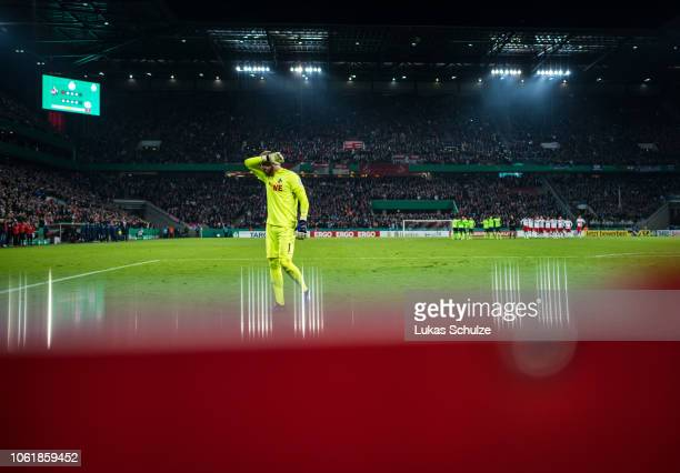 Goalkeeper Timo Horn of Koeln looks dejected penalty shoot out during the DFB Cup match between 1. FC Koeln and FC Schalke 04 at RheinEnergieStadion...
