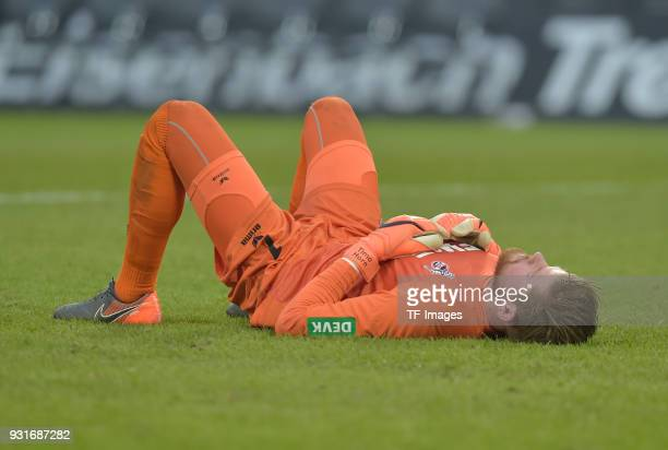Goalkeeper Timo Horn of Koeln on the ground after the Bundesliga match between 1 FC Koeln and VfB Stuttgart at RheinEnergieStadion on March 4 2018 in...