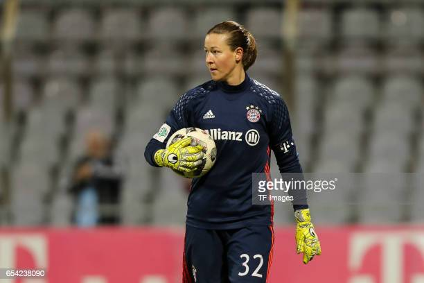 Goalkeeper TinjaRiikka Korpela of Bayern Muenchen looks on during the Women's DFB Cup Quarter Final match between FC Bayern Muenchen and VfL...
