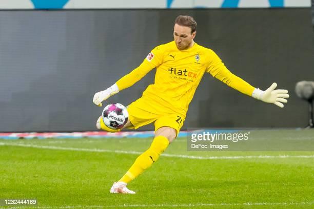Goalkeeper Tobias Sippel of Borussia Moenchengladbach controls the ball during the Bundesliga match between TSG Hoffenheim and Borussia...