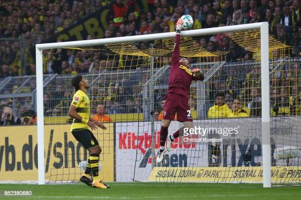Goalkeeper Tobias Sippel of Moenchengladbach saves against PierreEmerick Aubameyang of Dortmund during the Bundesliga match between Borussia Dortmund...