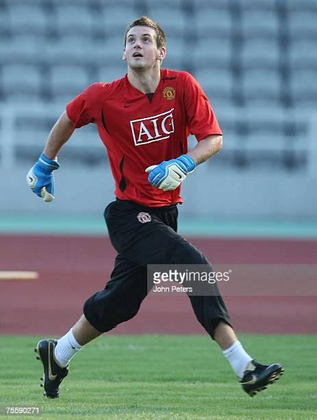 Goalkeeper Tom Heaton of Manchester United in action during a First Team training session at Macau Stadium on July 22 2007 in Macau China