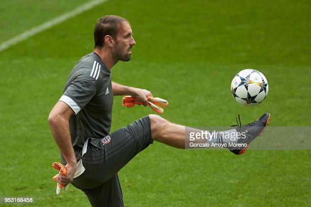 Goalkeeper Tom Starke a training session held ahead of the UEFA Champions League semifinal second league match between Real Madrid CF and FC Bayern...