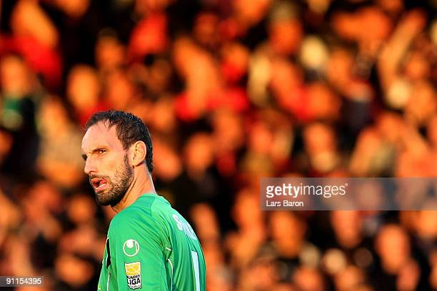 Goalkeeper Tom Starke of Duisburg looks on during the Second Bundesliga match between RotWeiss Oberhausen and MSV Duisburg at the Stadion Niederrhein...