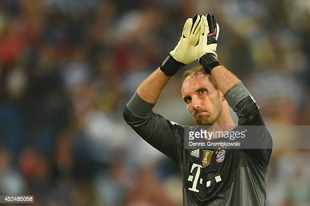 Goalkeeper Tom Starke of FC Bayern Muenchen gestures during the Friendly Match between MSV Duisburg and FC Bayern Muenchen at Schau-Ins-Land-Arena on...