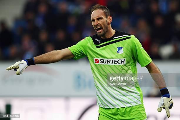 Goalkeeper Tom Starke of Hoffenheim reacts of Hoffenheim controles the ball during the Bundesliga match between 1899 Hoffenheim and SC Freiburg at...