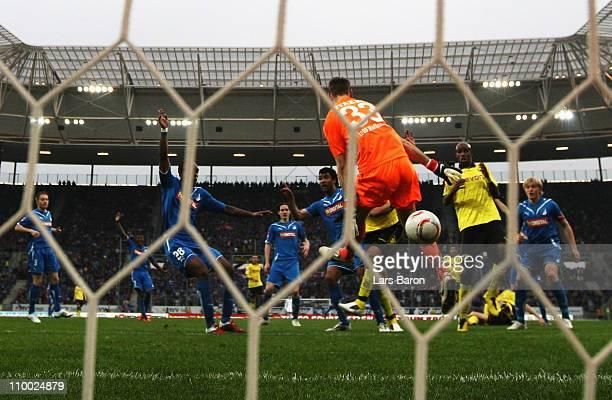 Goalkeeper Tom Starke of Hoffenheim saves a shoot of Lucas Barrios of Dortmund during the Bundesliga match between 1899 Hoffenheim and Borussia...