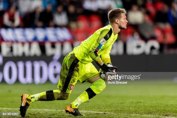 Goalkeeper Tomas Vaclik of Czech Republic saves a ball during the FIFA 2018 World Cup Qualifier between Czech Republic and Germany at Eden Stadium on...