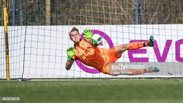 Goalkeeper Tomasz Kucz of Leverkusen saves the penalty during the A Juniors Bundesliga match between Borussia Dortmund and Bayer Leverkusen on April...
