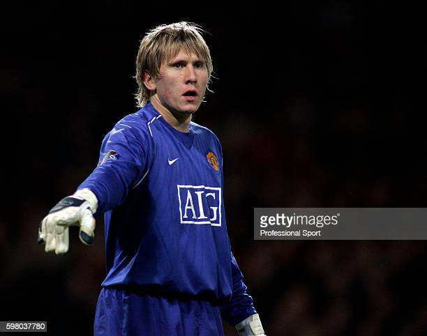 Goalkeeper Tomasz Kuszczak of Manchester United in action during the Barclays FA Premier League match between Manchester United and Bolton Wanderers...