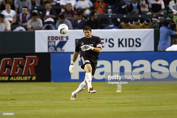 Goalkeeper Tony Meola of the Kansas City Wizards kicks the ball during the Major League Soccer game against the Los Angeles Galaxy at the Home Depot...