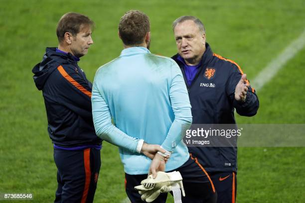 goalkeeper trainer Frans Hoek of Holland goalkeeper Jeroen Zoet of Holland coach Dick Advocaat of Holland during a training session prior to the...