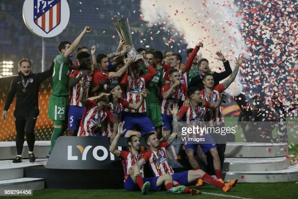 goalkeeper trainer Oscar Ortega of Club Atletico de Madrid goalkeeper Jan Oblak of Club Atletico de Madrid Diego Godin of Club Atletico de Madrid...