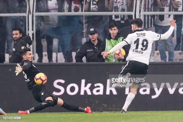 goalkeeper Ugurcan Cakir of Tranzonspor Guven Yalcin of Besiktas JK during the Turkish Spor Toto Super Lig football match between Besiktas JK and...