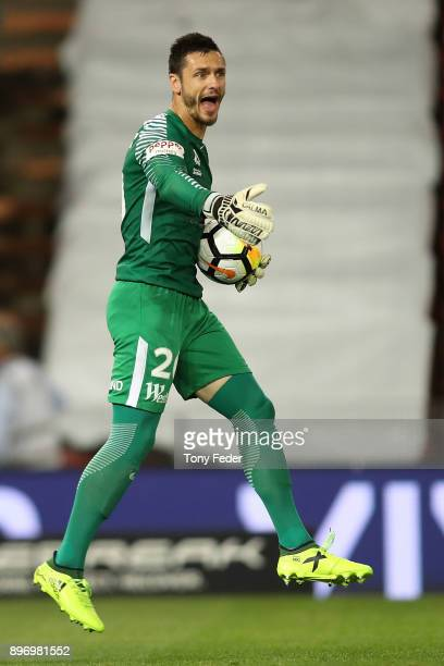 Goalkeeper Vedran Janjetovic of the Wanderers during the round 12 ALeague match between the Newcastle Jets and the Western Sydney Wanderers at...