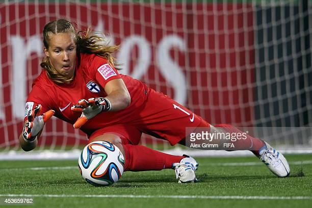 Goalkeeper Vera Varis of Finland makes a save during the FIFA U20 Women's World Cup Canada 2014 group A match between Ghana and Finland at Moncton...