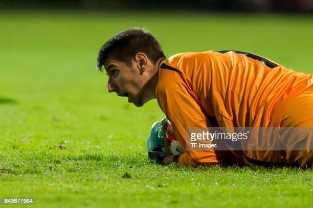 Goalkeeper Visar Bekaj of Kosovo controls the ball during the U21 UEFA 2018 EM Qualifying match between Germany and Kosovo at the Stadion Bremer...