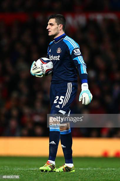 Goalkeeper Vito Mannone of Sunderland in action during the Capital One Cup semi final second leg match between Manchester United and Sunderland at...