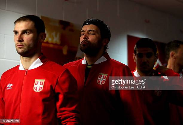 Goalkeeper Vladimir Stojkovic of Serbia closes his eyes for a few moments as he waits to enter the pitch during the FIFA 2018 World Cup Qualifier...