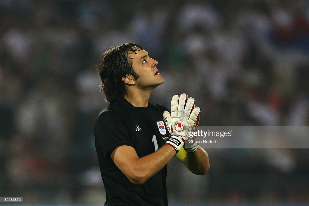 Goalkeeper Vladimir Stojkovic of Serbia reacts during the Men's First Round Group A match between Argentina and Serbia at the Workers' Stadium on Day 5 of the Beijing 2008 Olympic Games on August 13, 2008 in Beijing, China.