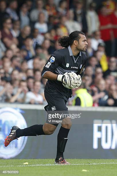 Goalkeeper Warner Hahn of PEC Zwolle during the Dutch Eredivisie match between Go Ahead Eagles and PEC Zwolle at The Adelaarshorst on October 19 2014...