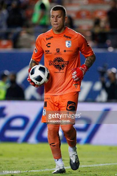 Goalkeeper Washington Aguerre of Queretaro looks on during a second-round match against Atletico San Luis in the Torneo Grita Mexico A21 Liga MX at...