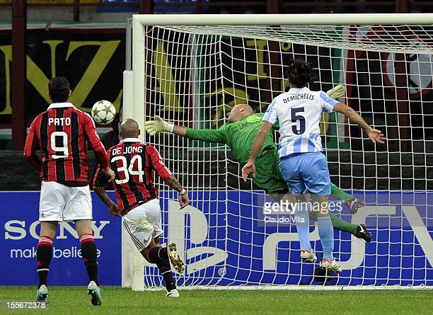 Goalkeeper Wilfredo Caballero of Malaga CF in action during the UEFA Champions League group C match between AC Milan and Malaga CF at Stadio Giuseppe...
