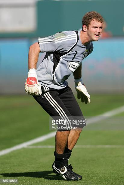 Goalkeeper Will Hesmer of the Columbus Crew warms up prior to the MLS match against Chivas USA at The Home Depot Center on April 5 2009 in Carson...