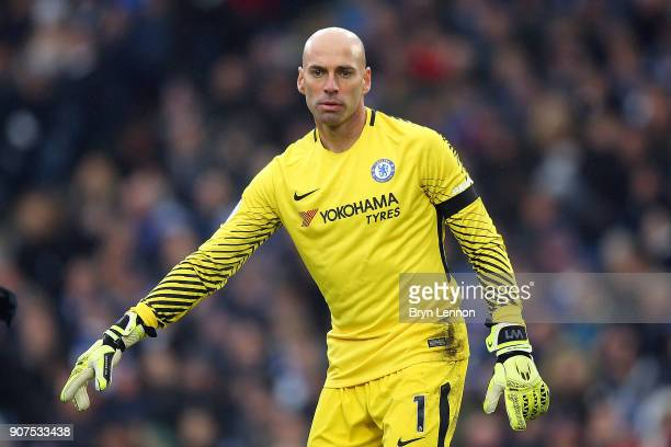 Goalkeeper Willy Caballero of Chelsea instructs his team during the Premier League match between Brighton and Hove Albion and Chelsea at Amex Stadium...