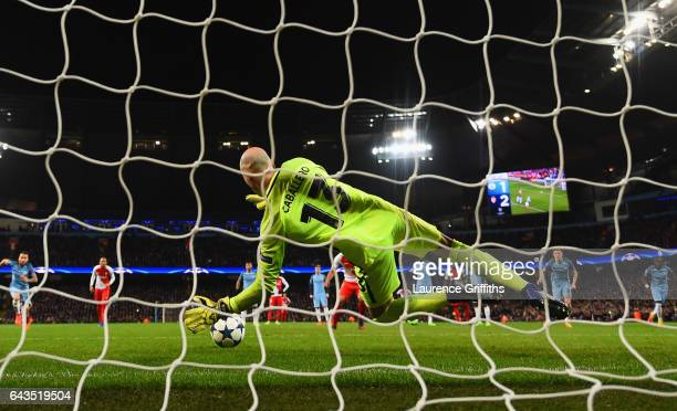 Goalkeeper Willy Cabellero of Manchester City saves a penalty from Radamel Falcao Garcia of AS Monaco during the UEFA Champions League Round of 16...