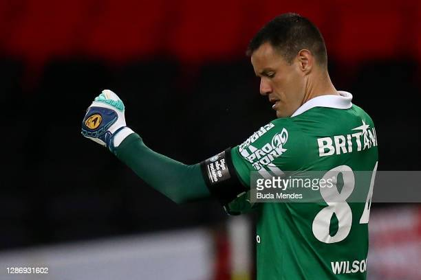 """Goalkeeper Wilson of Coritiba wears an armband that reads in Portiguese """"say no to Racism"""" during a match between Flamengo and Coritiba as part of..."""