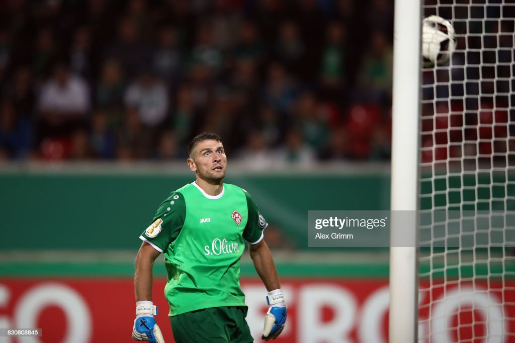 Goalkeeper Wolfgang Hesl of Wuerzburg lets in a goal from Milos Veljkovic (not in the picture) of Bremen during the DFB Cup first round match between Wuerzburger Kickers and SV Werder Bremen at Sparda-Bank-Hessen-Stadion on August 12, 2017 in Offenbach, Germany.