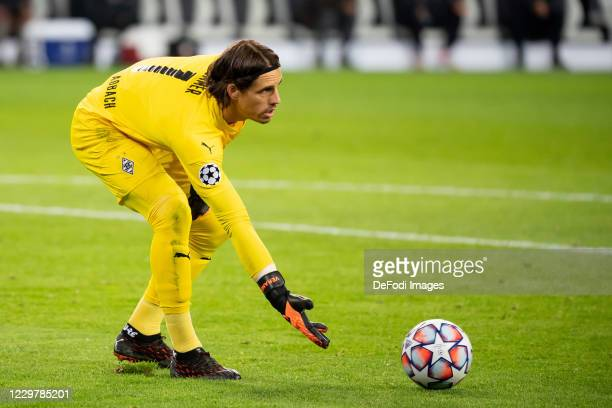 goalkeeper Yann Sommer of Borussia Moenchengladbach controls the ball during the UEFA Champions League Group B stage match between Borussia...