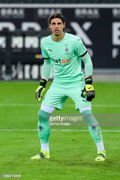 Goalkeeper Yann Sommer of Borussia Moenchengladbach controls the ball during the Bundesliga match between Borussia Moenchengladbach and Borussia...