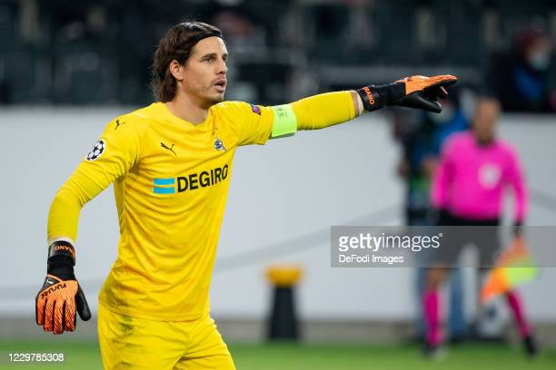 goalkeeper Yann Sommer of Borussia Moenchengladbach gestures during the UEFA Champions League Group B stage match between Borussia Moenchengladbach...