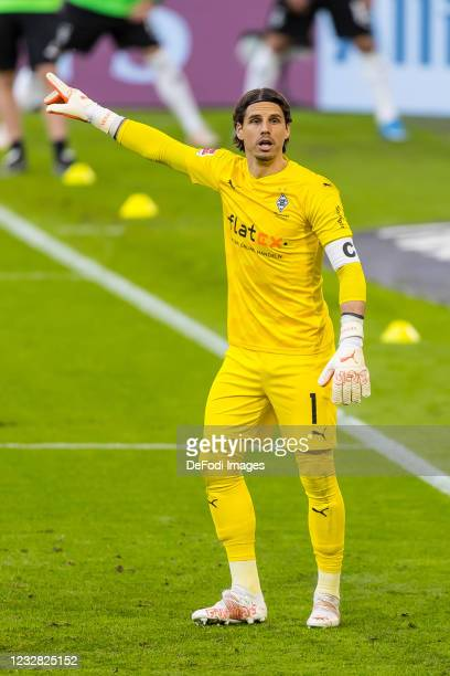 Goalkeeper Yann Sommer of Borussia Moenchengladbach gestures during the Bundesliga match between FC Bayern Muenchen and Borussia Moenchengladbach at...