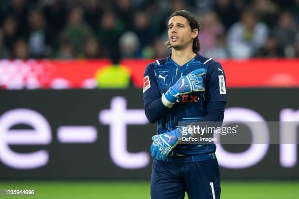 Goalkeeper Yann Sommer of Borussia Moenchengladbach gestures during the Bundesliga match between Borussia Mönchengladbach and VfB Stuttgart at...