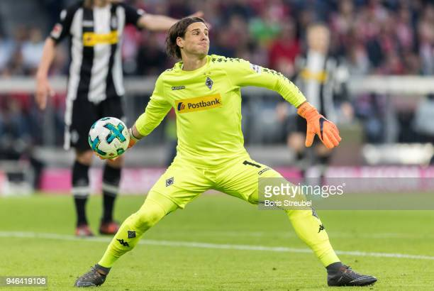 Goalkeeper Yann Sommer of Borussia Moenchengladbach in action during the Bundesliga match between FC Bayern Muenchen and Borussia Moenchengladbach at...