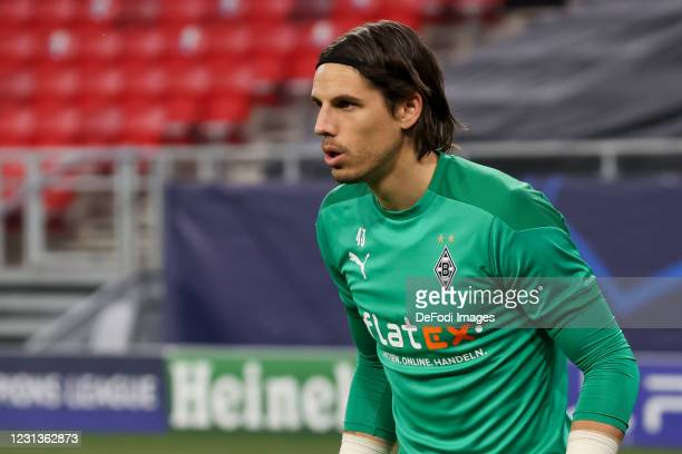 Goalkeeper Yann Sommer of Borussia Moenchengladbach looks on during the UEFA Champions League Round of 16 match between Borussia Moenchengladbach and...