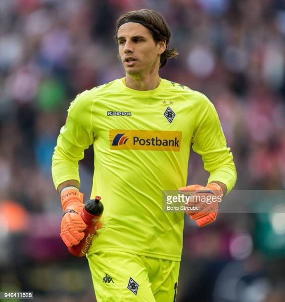 Goalkeeper Yann Sommer of Borussia Moenchengladbach looks on during the Bundesliga match between FC Bayern Muenchen and Borussia Moenchengladbach at...
