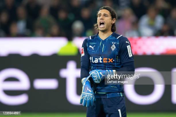 Goalkeeper Yann Sommer of Borussia Moenchengladbach yells during the Bundesliga match between Borussia Mönchengladbach and VfB Stuttgart at...