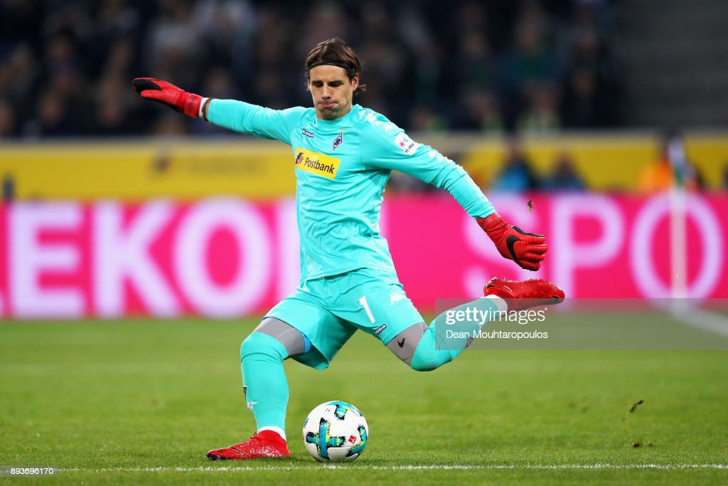Goalkeeper, Yann Sommer of Borussia Monchengladbach in action during the Bundesliga match between Borussia Moenchengladbach and Hamburger SV at Borussia-Park on December 15, 2017 in Moenchengladbach, Germany.