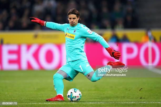 Goalkeeper Yann Sommer of Borussia Monchengladbach in action during the Bundesliga match between Borussia Moenchengladbach and Hamburger SV at...