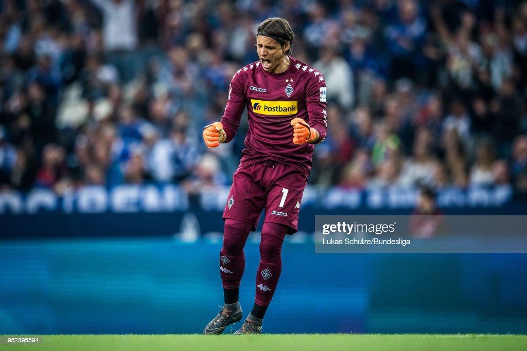 Goalkeeper Yann Sommer of Moenchengladbach celebrates his teams first goal during the Bundesliga match between FC Schalke 04 and Borussia Moenchengladbach at Veltins-Arena on April 28, 2018 in Gelsenkirchen, Germany.