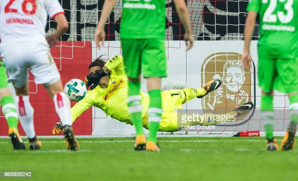 Goalkeeper Yann Sommer of Moenchengladbach defends the penalty during the DFB Cup match between Fortuna Duesseldorf and Borussia Moenchengladbach at...