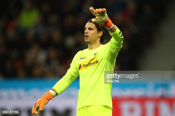 Goalkeeper Yann Sommer of Moenchengladbach gestures during the Bundesliga match between Bayer 04 Leverkusen and Borussia Moenchengladbach at BayArena...