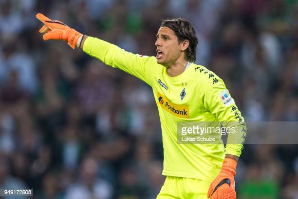 Goalkeeper Yann Sommer of Moenchengladbach gestures during the Bundesliga match between Borussia Moenchengladbach and VfL Wolfsburg at BorussiaPark...