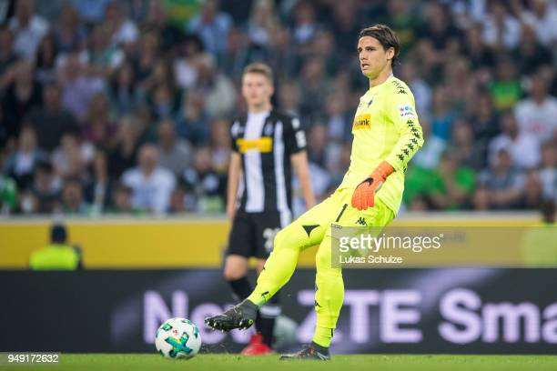 Goalkeeper Yann Sommer of Moenchengladbach in action during the Bundesliga match between Borussia Moenchengladbach and VfL Wolfsburg at BorussiaPark...